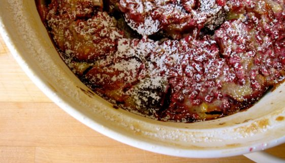 Pluot and Pomegranate Clafoutis