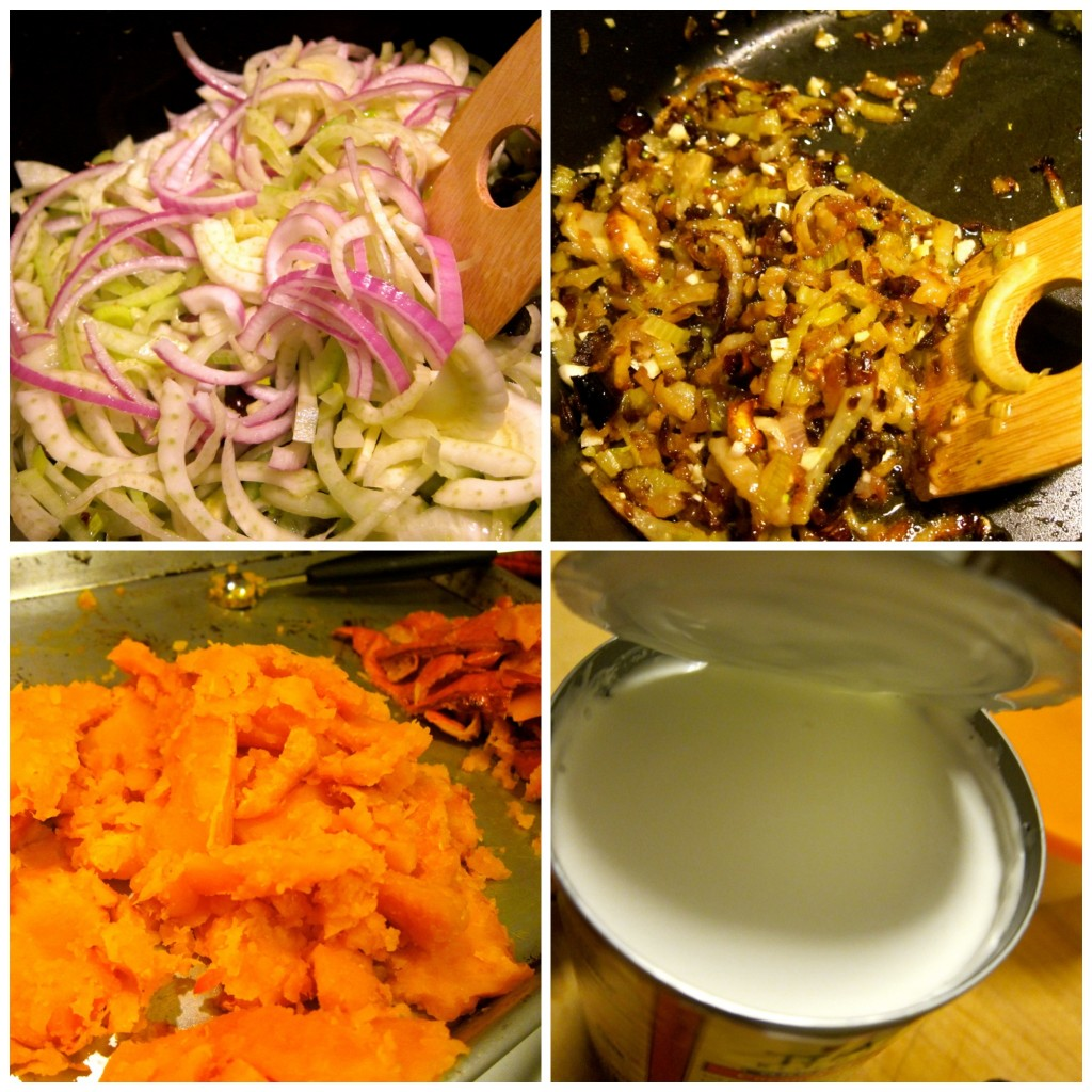 Caramelize the fennel and onion. Peel the roasted squash.