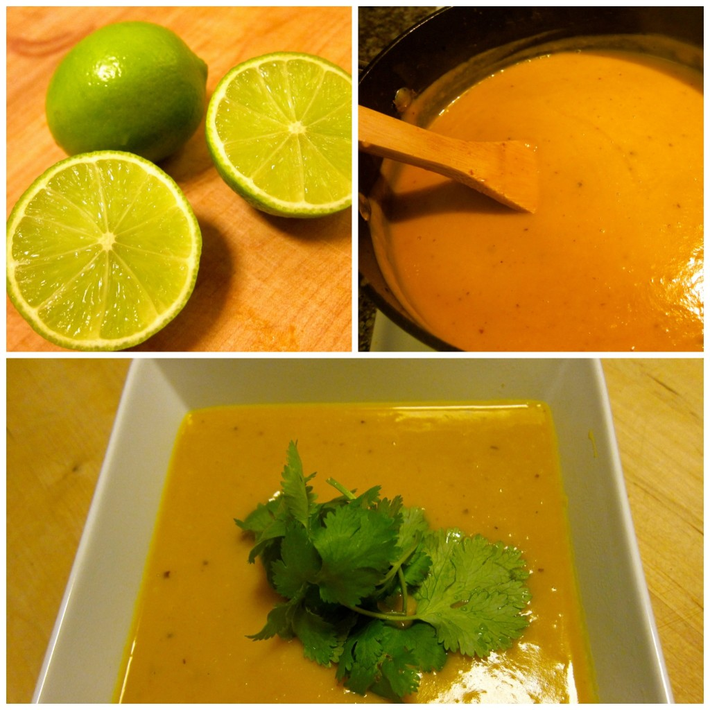 Puree and finish with lime juice and cilantro.