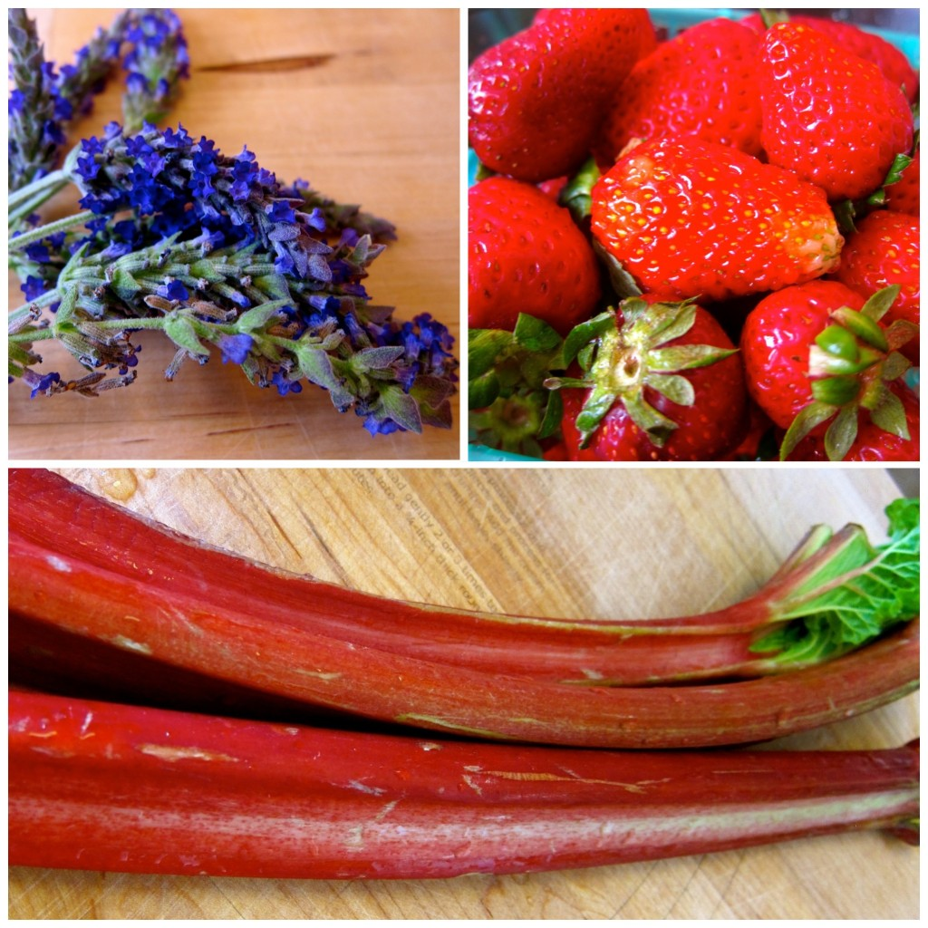 Fresh lavender, strawberries, and rhubarb!