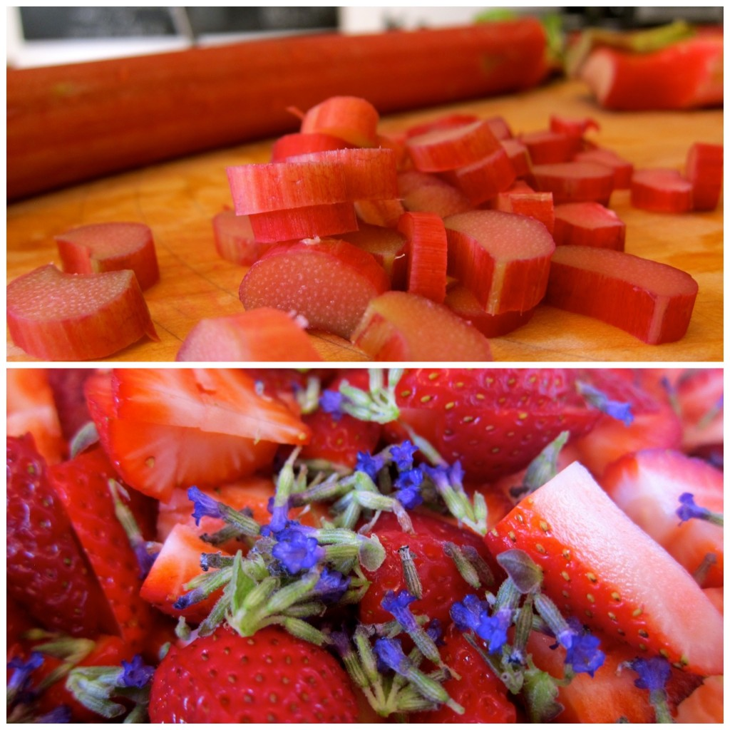 Chop the rhubarb and strawberries and pinch off the lavender flowers.