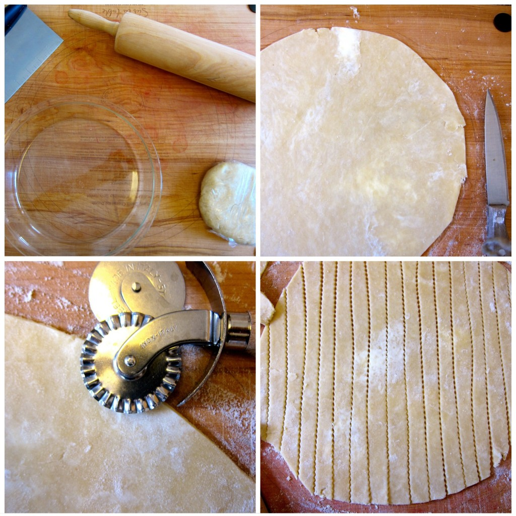 Roll out very chilled pastry crust and cut strips with fluted cutter.