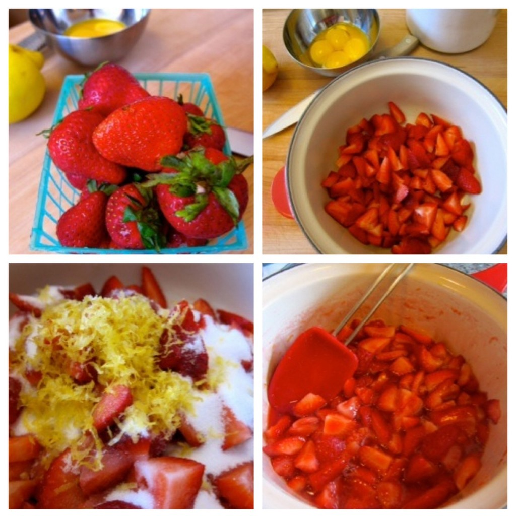 Slice stawberries, combine with lemon juice, lemon zest, and sugar. Cook in saucepan.